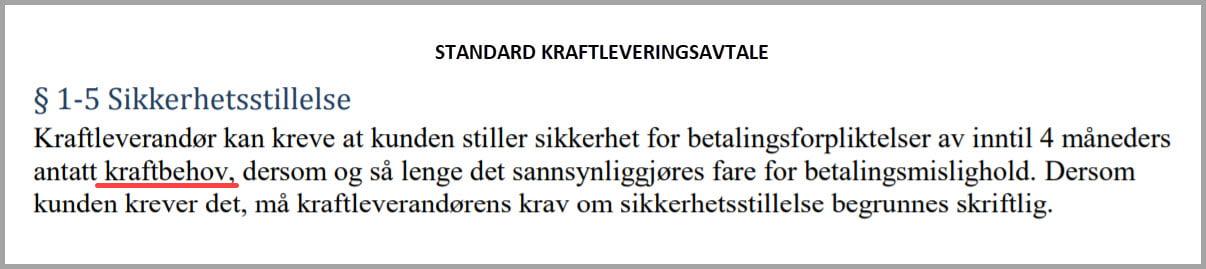 STANDARD KRAFTLEVERINGSAVTALE