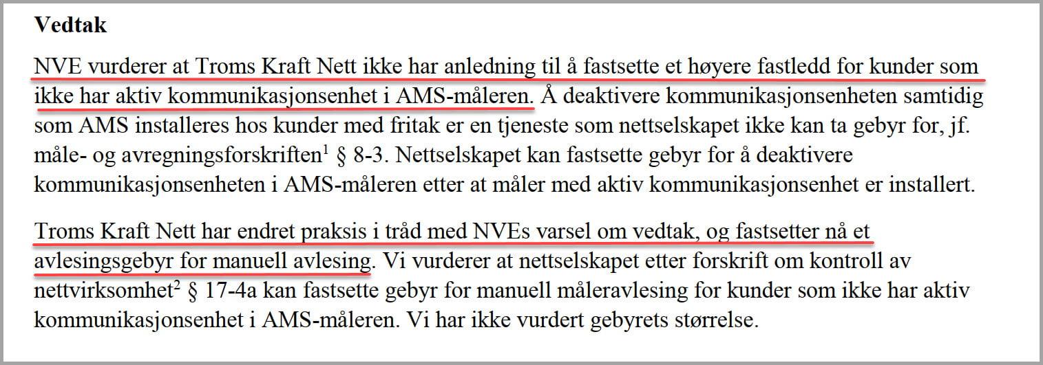 Troms Kraft Nett om kundespesifikke kostnader