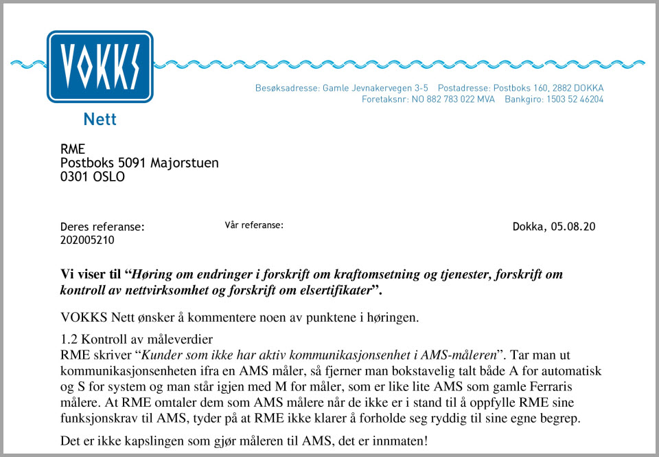 Vokks brev om AMS