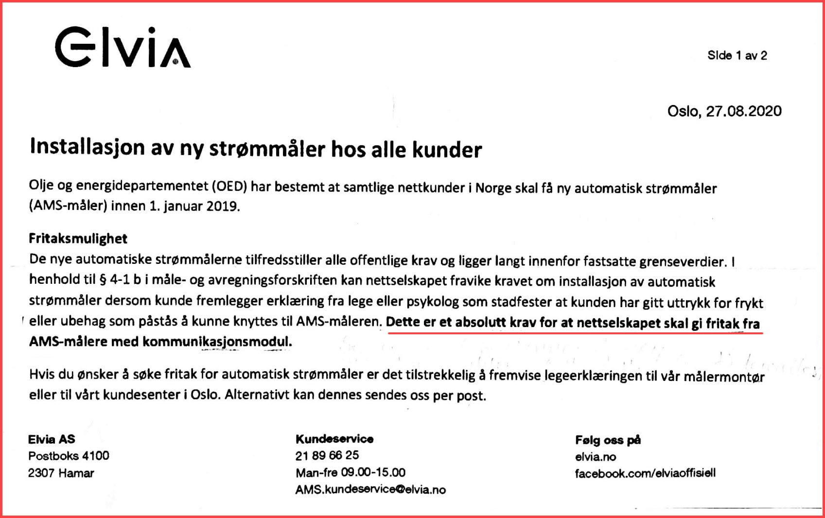 Elvia sitt absolutte krav om legeattest