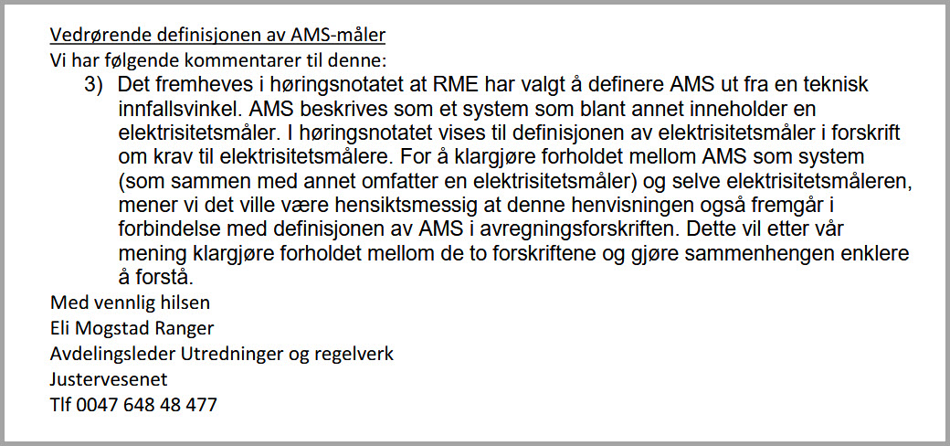 Justervesenet - Definisjonen av en AMS-måler